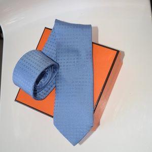 Hermes Men's Silk Tie Classic H logo Blue